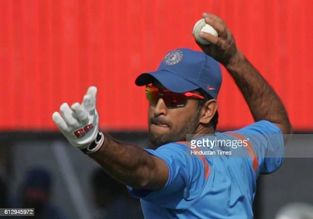 Cricket India vs Sri Lanka ODI India captain MS Dhoni during the net practice ahead of the first ODI between India and Sri Lanka at Rajkot