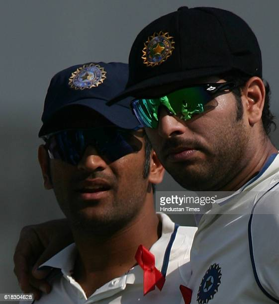 Cricket India vs Sri Lanka Test Series India players MS Dhoni Yuvraj Singh during the first day of the third test match between India and Sri Lanka...