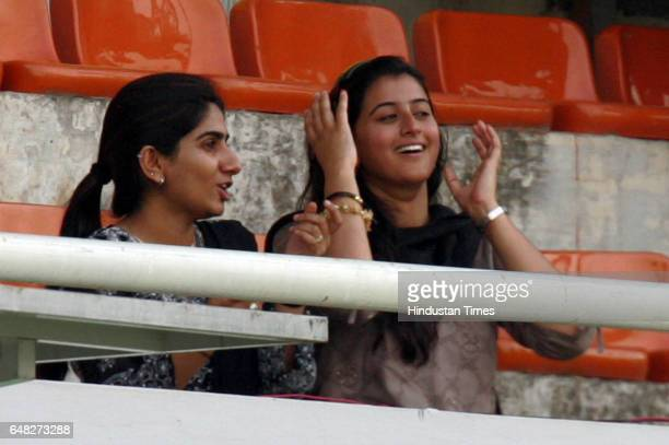 Cricket Indian openers Dinesh Karthick Karthik Carthick's and Wasim Jaffar's Jafar respective wives Nikita and Ayesha watches their husbands bats to...
