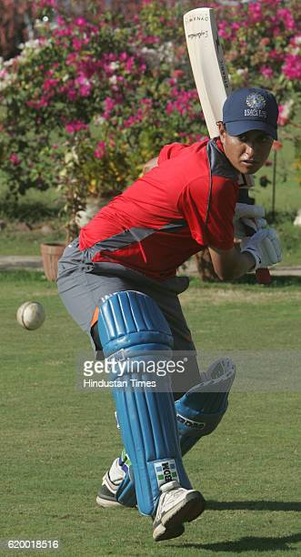 Cricket Indian Women Cricket Team India Women cricket teams former captain Anjum Chopra bats during the teams practice session at MCA ground at BKC...
