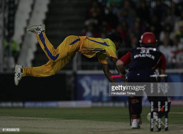 Cricket IPL2 Chennai's bowler Balaji dives to catch Delhi's David Warner during the match between Delhi and Chennai at Wanderers ground Johannesburg