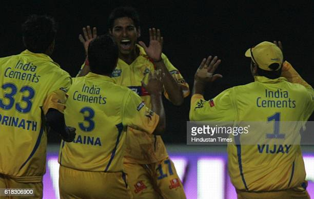 Cricket IPL2 Chennai's bowler Tyagi celebrates the wicket of Delhi's AB deVilliers during the match between Delhi and Chennai at Wanderers...