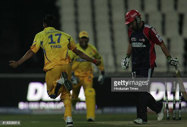 Cricket IPL2 Chennai's bowler Tyagi celebrates the wicket of Delhi's AB deVilliers during the match between Delhi and Chennai at Wanderers ground...