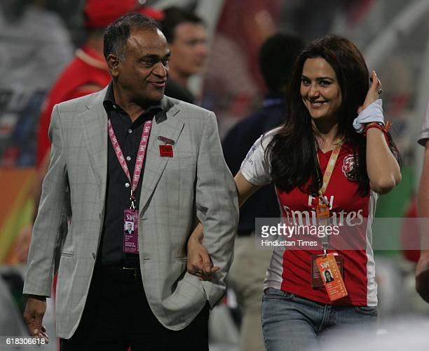 Cricket IPL2 Punjab's coowner Preity Zinta with former BCCI secretary Niranjan Shah during the match between Bangalore and Punjab at Kingsmead ground...
