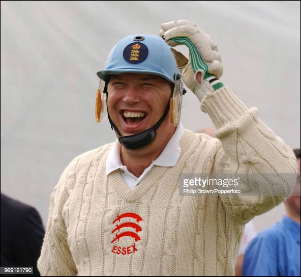 Cricket journalist and former England cricketer Derek Pringle laughing after a nets session with Steve Harmison of England at the Riverside Ground...