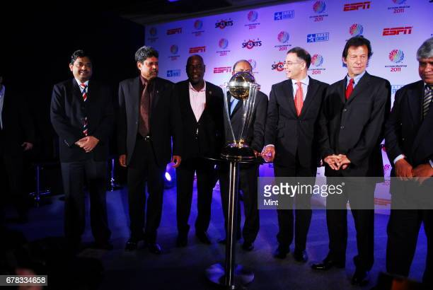Cricket legends India's Kapil Dev West Indies' Vivian Richards Pakistan's Imran Khan and Sri Lanka's Arjuna Ranatunga with ICC Chief Executive Haroon...