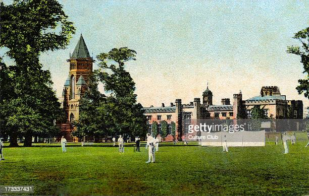 Cricket match at Rugby School postcard of school and the school grounds Early 1900s
