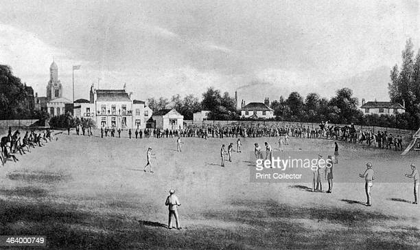 Cricket match in progress at Kennington Oval, London, 1848 . From Imperial Cricket, edited by P F Warner and published by The London and Counties...