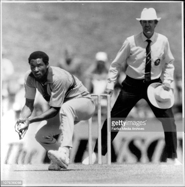 NZ Vs West Indies at the SCGHarper fields his on ball after just failing to Catch Coney March 09 1985
