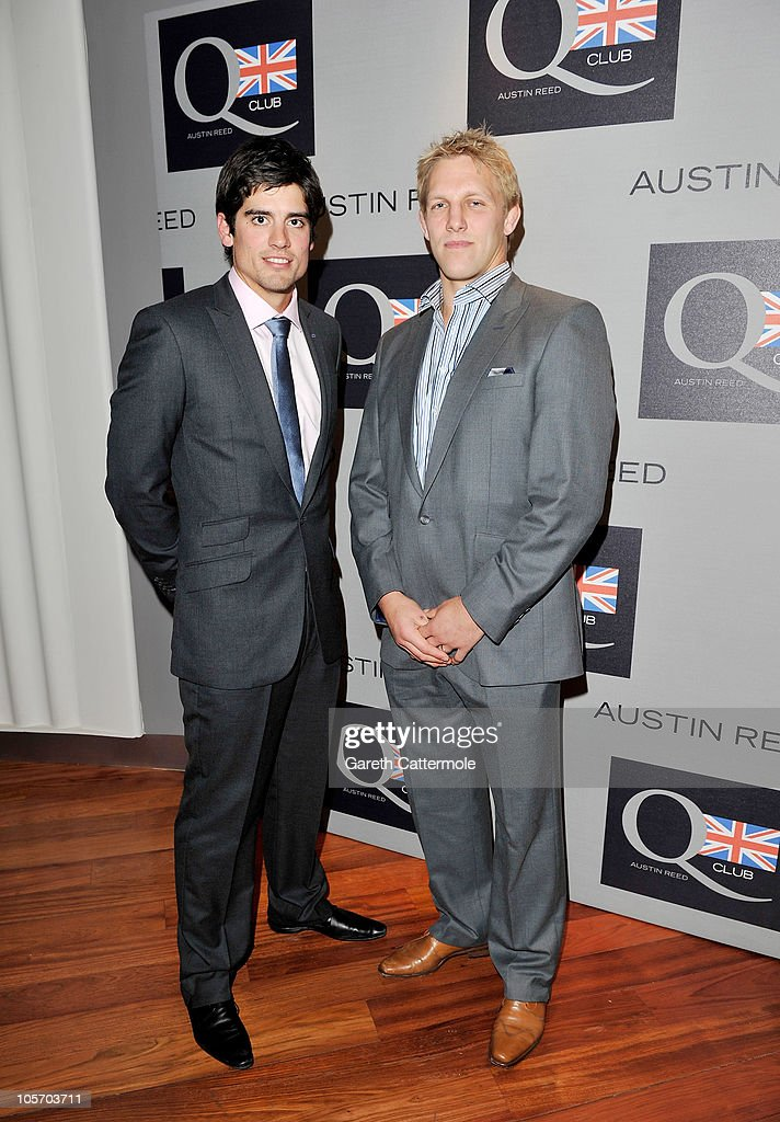Cricket player Alastair Cook and rugby player Lewis Moody attend the Austin Reed Q Club Launch at the Austin Reed Regent Street store on October 19, 2010 in London, England.