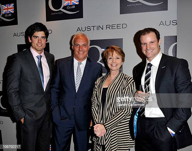 Cricket player Alastair Cook Austin Reed CEO Nick Hollingworth Anne Diamond and Cricket player Andrew Strauss attend the Austin Reed Q Club Launch at...