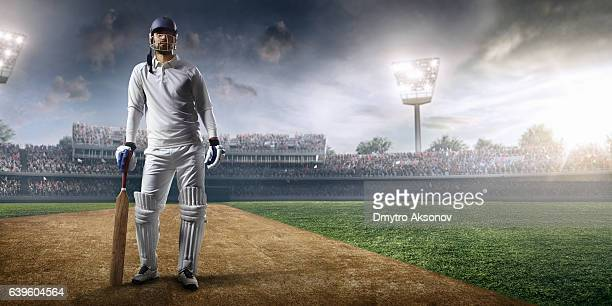 cricket player batsman on the stadium - cricket player stock pictures, royalty-free photos & images