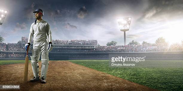 cricket player batsman on the stadium - cricket stockfoto's en -beelden
