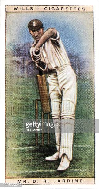 Cricket player D.R Jardine of Surrey and England, illustrated on a Wills Tobacco Cigarette Card from 1928.
