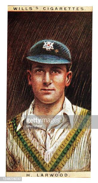Cricket player Harold Larwood of England and Nottinghamshire illustrated on a Wills Tobacco Cigarette Card from 1928.