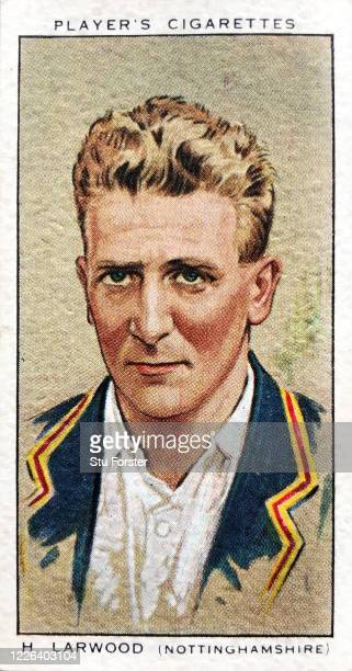 Cricket player Harold Larwood of Nottinghamshire and England, illustrated on a Players Tobacco Cigarette Card from 1934.