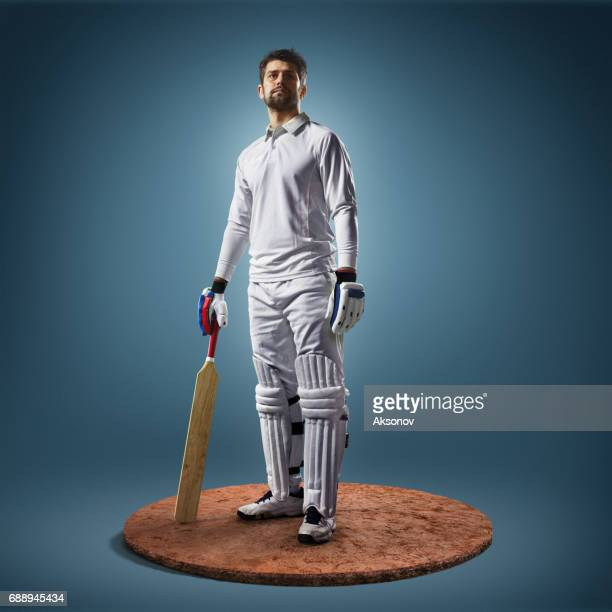Cricket player in action