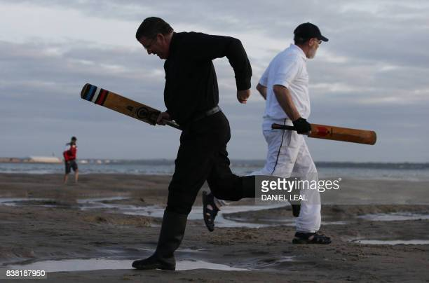 Cricket players from the Royal Southern Yacht Club and Cowes Island Sailing Club play an annual cricket match in the middle of The Solent on the...