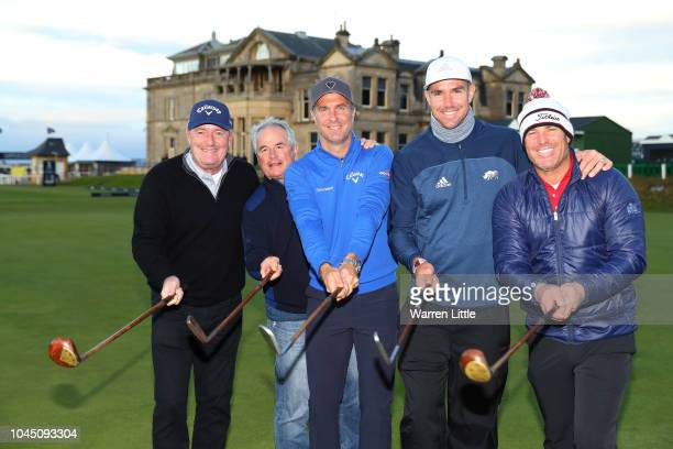 Cricket players Shane Warne Kevin Pietersenm Michael Vaughn and Allan Lamb pose with TV personality Piers Morgan on the 18th green during previews...