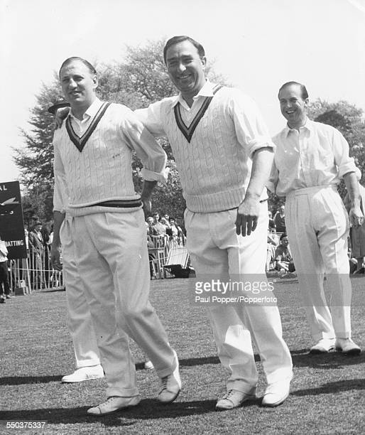 Cricket players Sir Len Hutton and Denis Compton pictured smiling as they leave the field after a charity cricket match at Bickley Kent on May 5th...