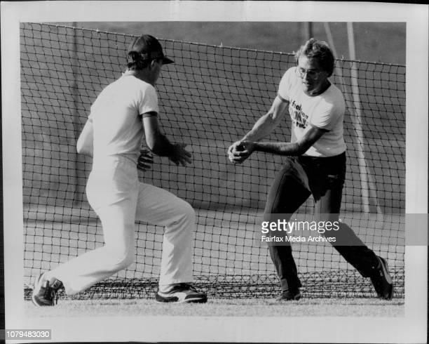 NSW Cricket Practice Greg Matthews amp NSW Capt Dirk Wellham at slips catching practice October 27 1983