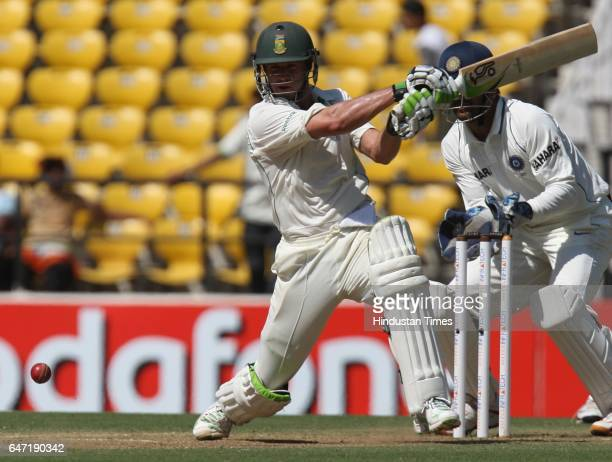 Cricket South Africa batsman AB DeVilliers bats during the second day of the first test match between India and South Africa at VCA stadium in Nagpur...