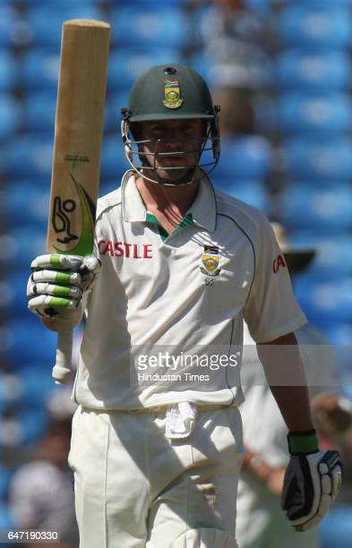 Cricket South Africa batsman AB DeVilliers celebrates after half century during the second day of the first test match between India and South Africa...
