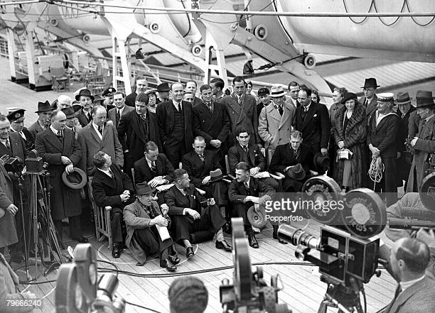 Cricket Southampton England 20th April 1938 Australian test cricketers upon arrival at Southampton on the liner Orantes Left to right SJ McCabe AG...