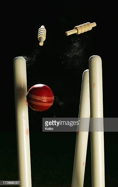 cricket stumps - cricket stockfoto's en -beelden
