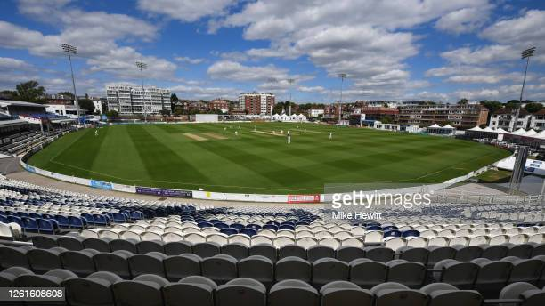 Cricket takes place behind closed doors during a friendly match between Sussex and Hampshire at County Ground on July 28, 2020 in Hove, England.