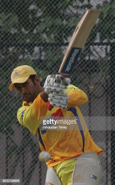 Cricket Team Chennai's captain MS Dhoni during the net practice session on the eve of their match against Team Hyderabad at Rajiv Gandhi stadium on...