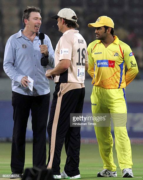 Cricket Team Hyderabad captain Adam Gilchrist and Team Chennai captain MS Dhoni for the toss during their IPL T20 match between Hyderabad and Chennai...