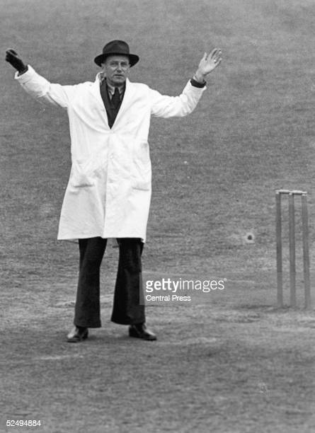 Cricket umpire Frank Chester signals a wide ball July 1948