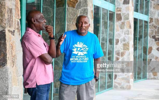 Cricket West Indies ambassadors for ICC Women World T20 Sir Vivian Richards and Sir Andy Roberts at Coolidge Cricket Ground on November 2 2018 in...