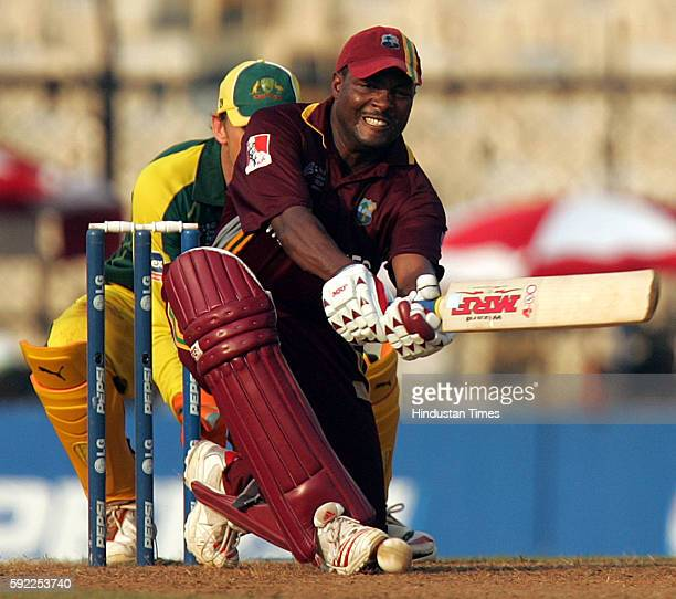 Cricket West Indies batsman Brian Lara on his way to 71 runs against Australia during their ICC Champions Trophy match at CCI