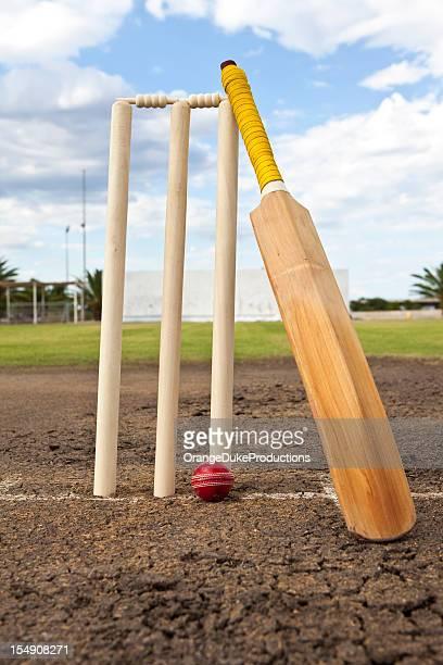 cricket wickets,ball and bat - wicket stock pictures, royalty-free photos & images