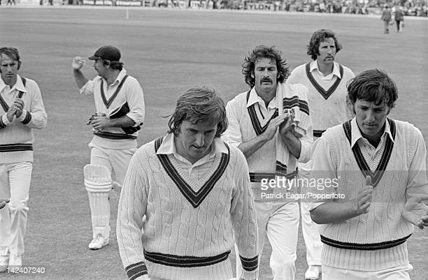 'Cricket World Cup 1975 semi final England v Australia at Headingley Gary Gilmour after taking 6 for 14 with Doug Walters Road Marsh Dennis Lillee...