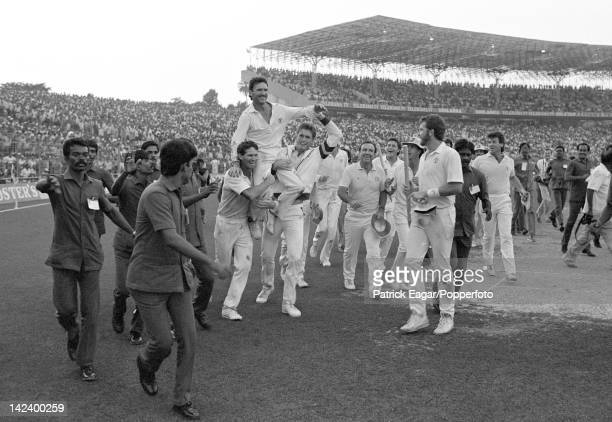 'Cricket World Cup[ 1987 World Cup Final Australia v England at Eden Gardens Calcutta Allan Border with Dean Jones and Tom Moody after winning the...