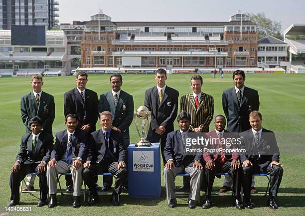 'Cricket World Cup 1999 The international captains at Lord's back Alistair Campbell Hanse Cronje A Y Karim Stephen Fleming Wasim Akram front Aminul...