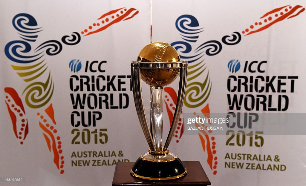 ICC Cricket World Cup 2015 trophy is seen on display at the New Zealand High Commission in New Delhi on November 5, 2014. The 2015 World Cup will be held from February 14 - March 29, 2015 with 49 matches played in 14 venues across the two host nations, Australia and New Zealand.