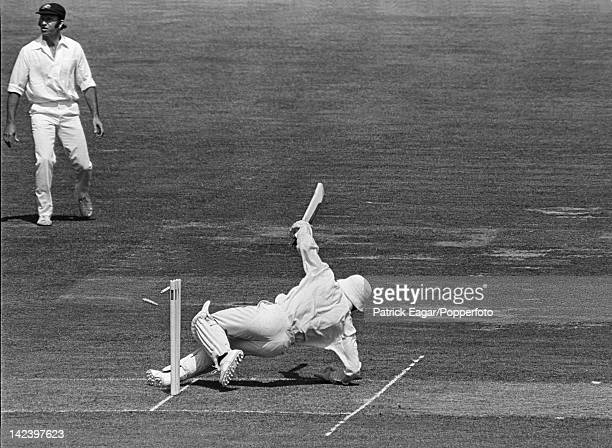 Cricket World Cup Final 1975 Australia v West Indies at Lord's Roy Fredericks hooks Lillee for 6 but slips and falls on his stumps 60955-8A
