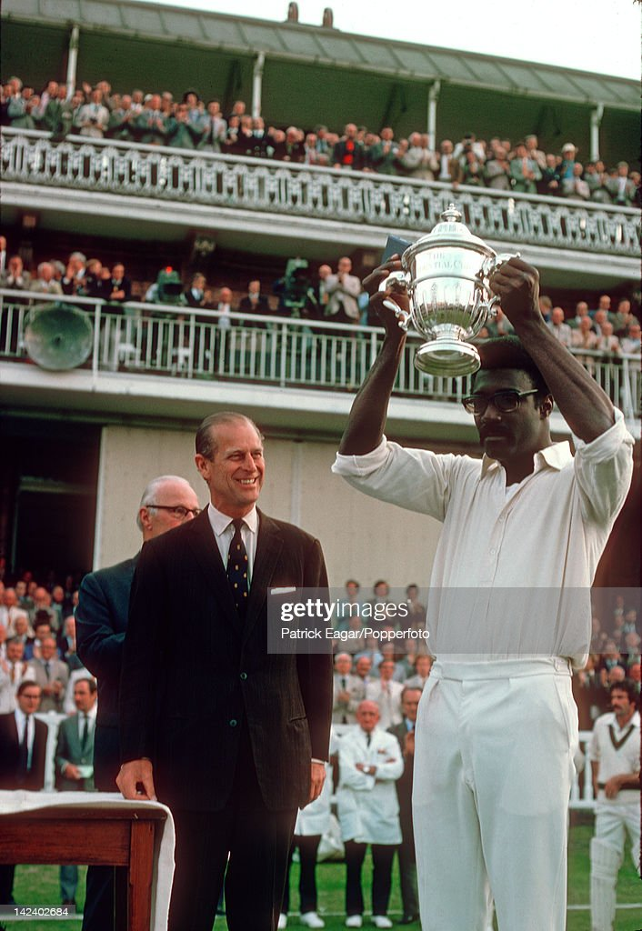 'Cricket World Cup Final Lord's 1975 Clive Lloyd, the West Indies captain, is awarded the Prudential Trophy by HRH Prince Philip after his team had defeated Australia E757123 (Photo by Patrick Eagar/Patrick Eagar via Getty Images)'