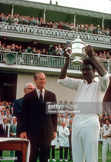 'Cricket World Cup Final Lord's 1975 Clive Lloyd the West Indies captain is awarded the Prudential Trophy by HRH Prince Philip after his team had...