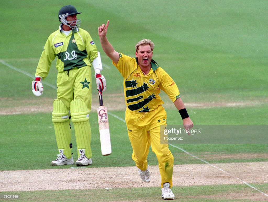 1999 Cricket World Cup Final. Lords. 20th June, 1999. Australia beat Pakistan by 8 wickets. Australia's Shane Warne celebrates after taking the wicket of Pakistan's Wasim Akram, the first of four. : News Photo