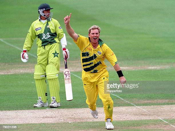 Cricket World Cup Final Lords 20th June Australia beat Pakistan by 8 wickets Australia's Shane Warne celebrates after taking the wicket of Pakistan's...