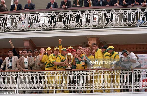 Cricket World Cup Final Lords 20th June Australia beat Pakistan by 8 wickets Australia celebrate with the World Cup trophy on the balcony at Lord