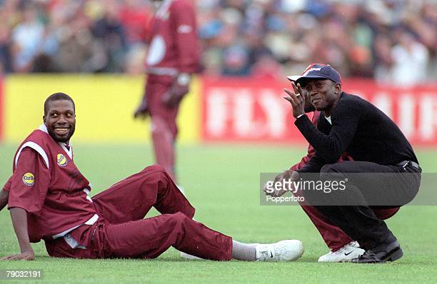 Cricket World Cup Old Trafford 30th May Australia beat West Indies by 6 wickets Manchester United footballer Dwight Yorke chats with West Indies'...