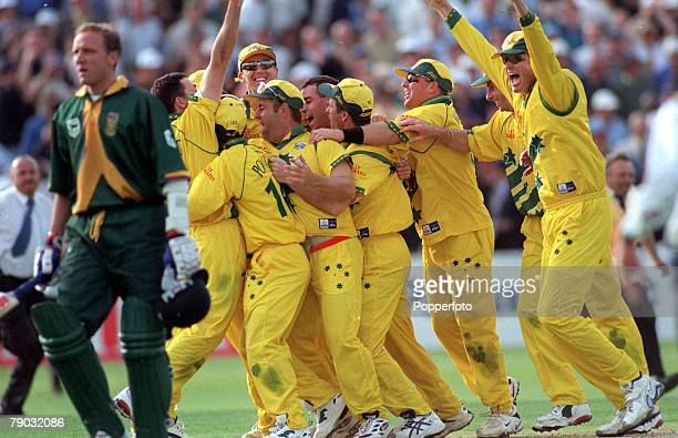 Cricket World Cup Semi Final, Edgbaston, 17th June Australia v South Africa, Match Tied, Australia celebrate as South Africa's Allan Donald is run...