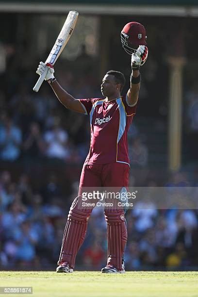 CricketCommonwealth Bank SeriesAustralia v West Indies One Day International West Indies batsman Kieron Pollard celebrates his century at the Sydney...