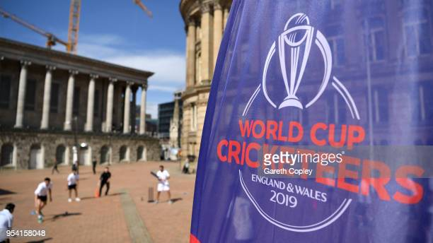 Cricketeers take part in a game of street cricket during the Cricket World Cup 2019 Volunteers Launch event at Victoria Square on May 3 2018 in...
